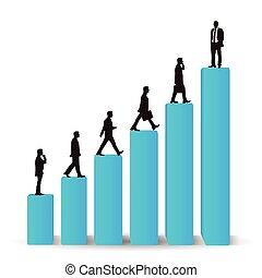 Businessman career promotion graph