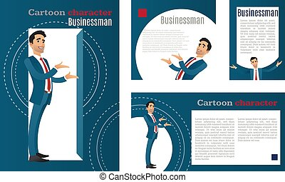 businessman., caricatura, personagem