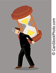 Businessman Carries a Giant Hourglass on his Back Cartoon Vector Illustration