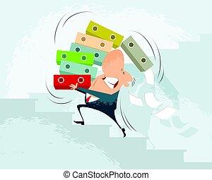 Businessman carry folders