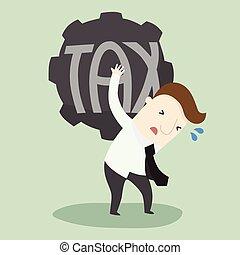 Businessman carry heavy TAX ball
