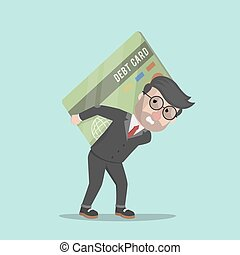 businessman carrying a large debt c