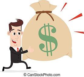 Businessman carrying bag of money