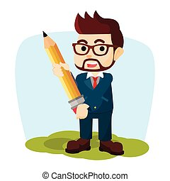businessman carrying giant pencil