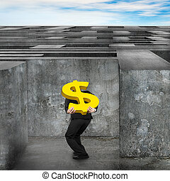 Businessman carrying golden dollar sign enter huge maze with sky