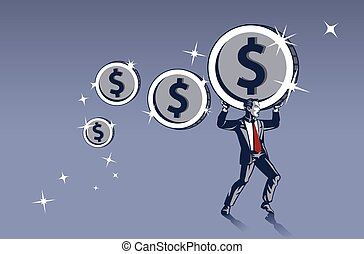 Businessman Carrying Heavy Coins with Maximum Effort. ...