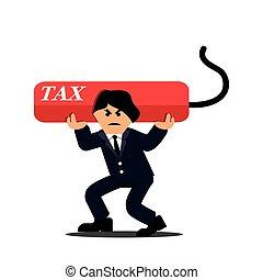 Businessman carrying heavy debt tax. Flat designs