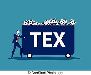 Businessman carrying money with tax. Concept business tax vector illustration.