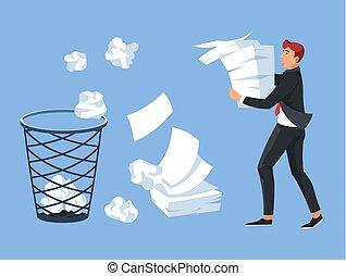 Businessman carrying paper pile office trash bin - Office...