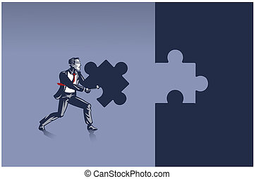 Businessman Carrying Piece of Jigsaw Puzzle Ready to Place it Correctly Illustration Concept