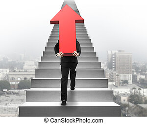 Businessman carrying red arrow sign on stairs with urban scene