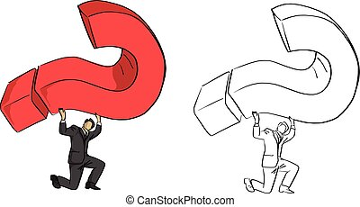 businessman carrying red big question mark vector illustration sketch doodle hand drawn with black lines isolated on white background