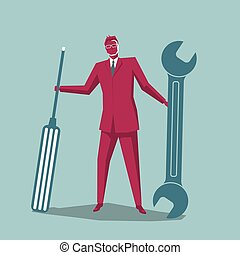 Businessman carrying repair tools. Isolated on blue background.