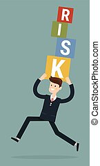 businessman carrying risk blocks. Risk management. Business concept vector