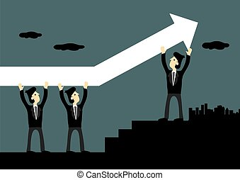 Businessman Carrying Up Arrow Vector Illustration