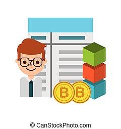 businessman cartoon bitocin blockchain fintech vector...