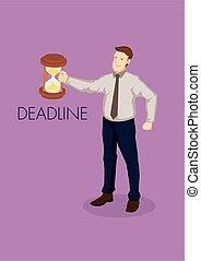 Businessman Cartoon Character Holding Hourglass Clock Vector...
