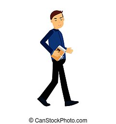 Businessman cartoon character in a blue shirt walking with folder full of documents vector Illustration