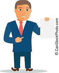 Businessman Cartoon Character in Blue Suit. Vector