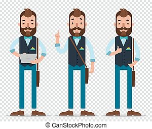 Businessman cartoon character in different poses. Man hold ...