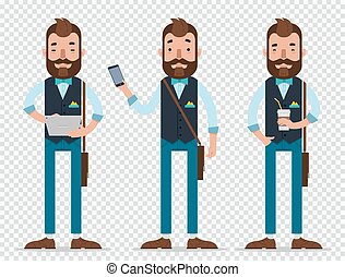 Businessman cartoon character in different positions. Man ...