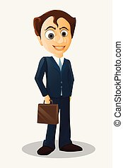 Businessman cartoon character with briefcase - Vector illustration