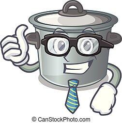 Businessman cartoon cookware stock pot in kitchen vector...