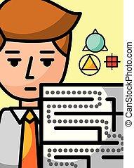 businessman cartoon creativity labyrinth science learning