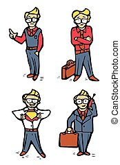 Businessman cartoon icons set