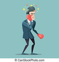 Businessman Cartoon in Boxing Gloves. Vector illustration