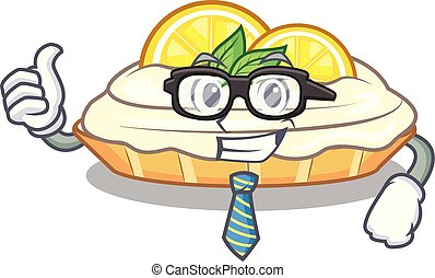 Businessman cartoon lemon cake with lemon slice