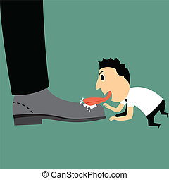 businessman cartoon lick someone?s boots for flatter