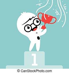businessman cartoon with trophy on winner podium