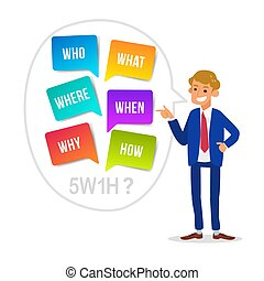 businessman cartoon with WHO WHAT WHERE WHEN WHY HOW, 5W1H Questions. colorful speech bubbles isolated on white background.