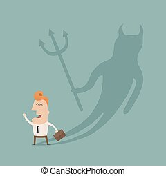 Businessman casting a devil shadow