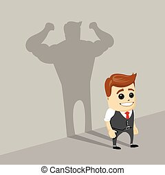 Businessman casting strong man shadow, vector.