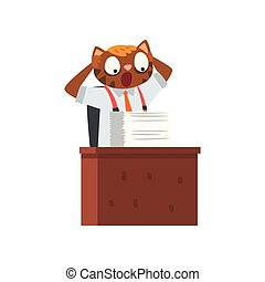 Businessman cat having a lot of work, funny humanized animal cartoon character working with documents vector Illustration