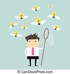 Businessman catch a light bulb idea