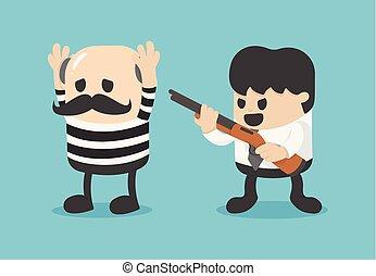 businessman catch thief. Vector illustration.