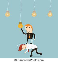 Businessman catching a light bulb