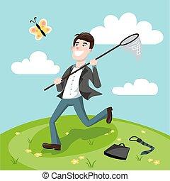 Businessman catching butterflies cartoon vector -...