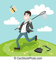 Businessman catching butterflies cartoon vector -...