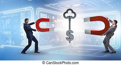 Businessman catching dollar key with horseshoe magnet