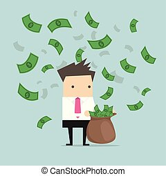 Businessman catching money in a sack.