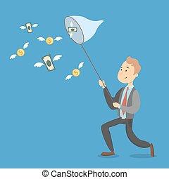 Businessman catching money.