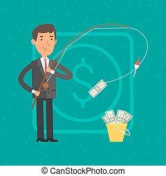 Businessman catching money on fishing rod
