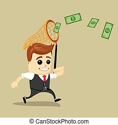 Businessman catching money with a butterfly net. Vector illustration. Dollars and Finance