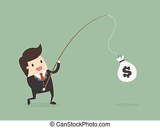 Businessman Catching Money With Fishing Rod. Business...