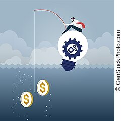 Businessman Catching Money With Fishing Rod. Business Concept vector.