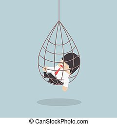 Businessman caught in a net trap